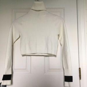 Zara cropped turtleneck sweater white